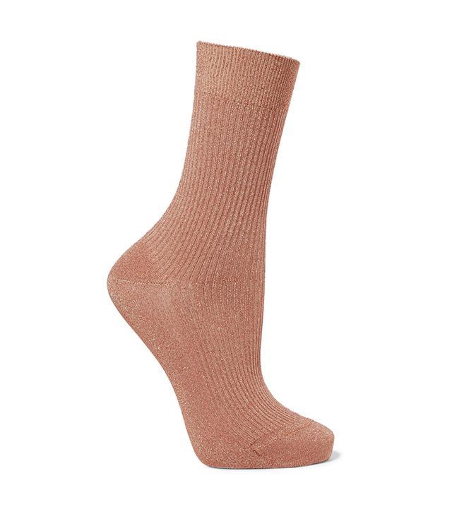 Metallic Ribbed-knit Socks