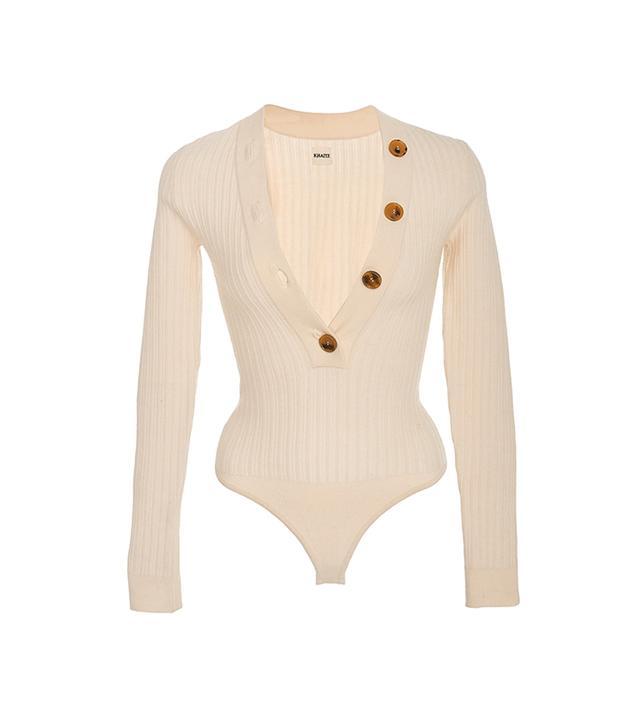Ribbed-Knit Wool Sweater Bodysuit