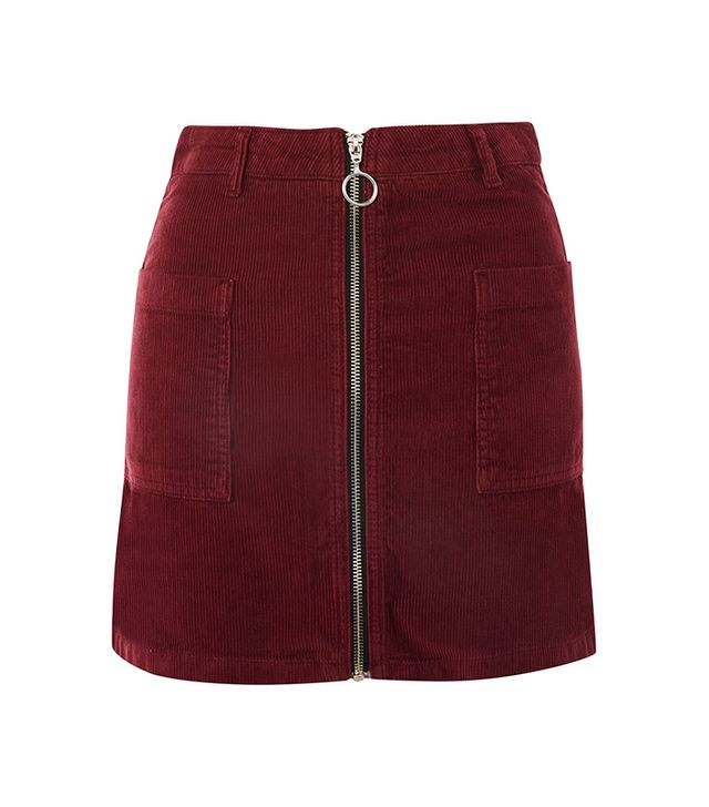 MOTO Zip Through Corduroy Skirt