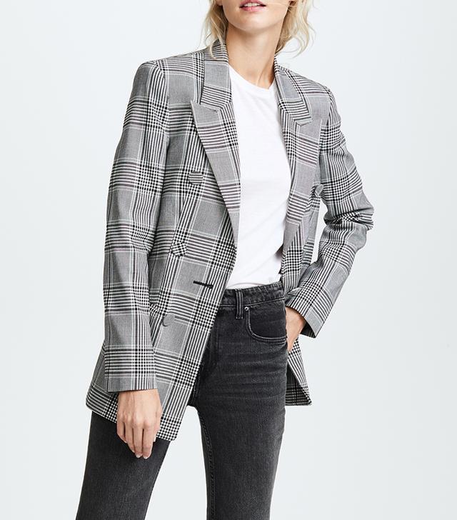 Peaked Lapel Leather Sleeve Jacket