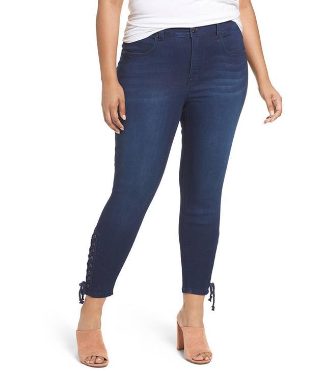 Plus Size Women's Melissa Mccarthy Seven7 Lace-Up Pencil Leg Jeans