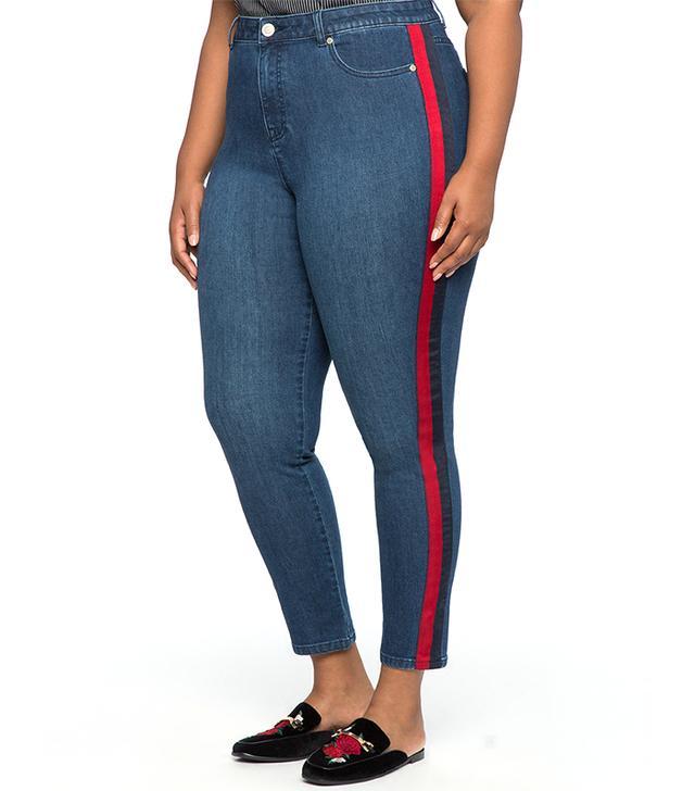 Eloquii Athletic Stripe Slim Jean