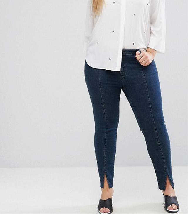ASOS CURVE LISBON Mid Rise Skinny Jeans in Amelie Darkwash with Vent Hem
