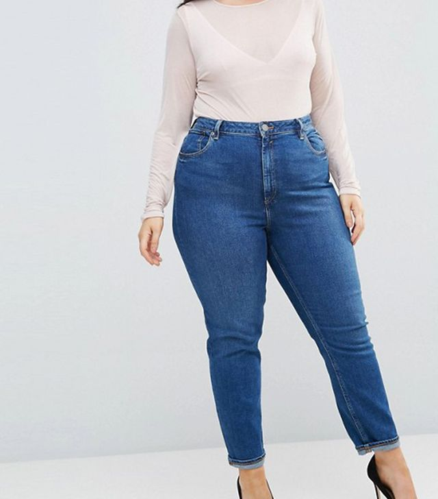 ASOS CURVE FARLEIGH High Waist Slim Mom Jeans in Blossom Darkwash