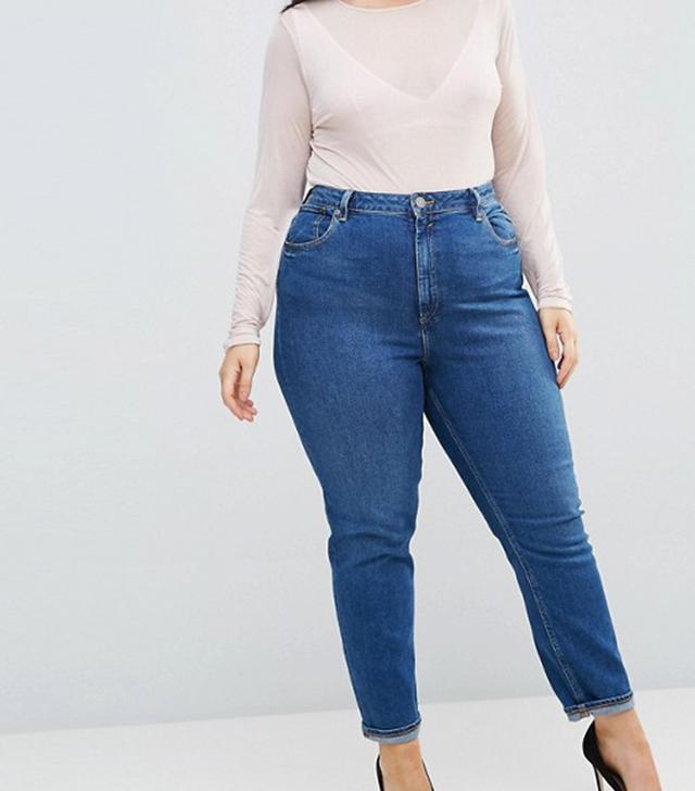 ASOS CURVE FARLEIGH High Waist Slim Mom Jeans in Blossom Darkwash