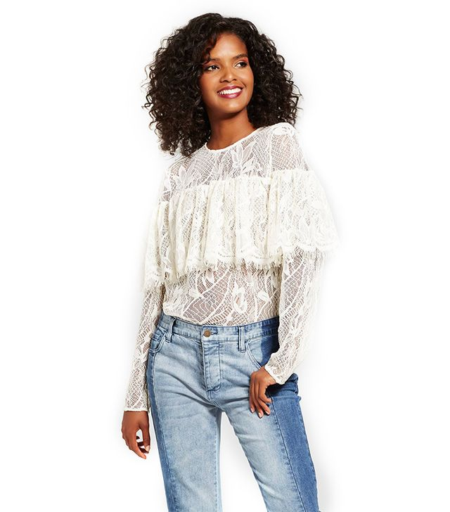 Who What Wear Layered Lace Top