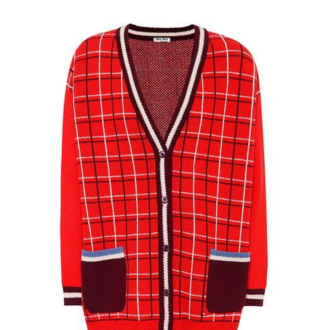 Oversized Checked Wool Cardigan