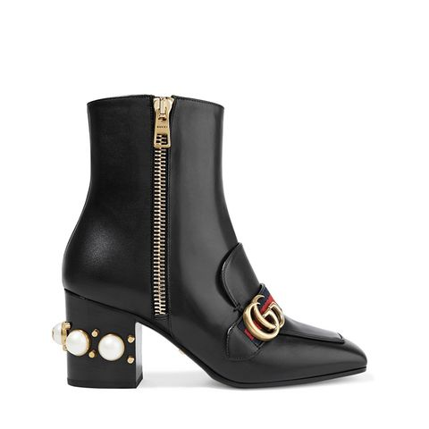 Marmont Embellished Leather Ankle Boots