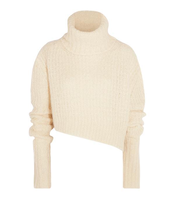 Asymmetric Chunky-knit Turtleneck Sweater