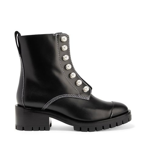 Lug Sole Zipper Embellished Leather Ankle Boots