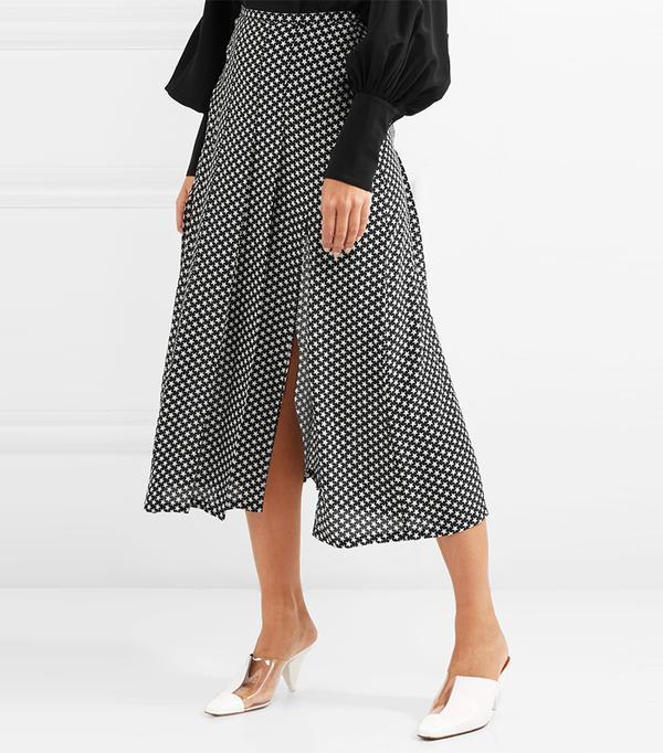 Georgia Pleated Star-print Silk Crepe De Chine Midi Skirt