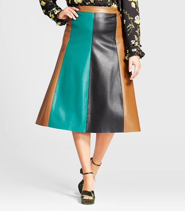Who What Wear Plus Size Paneled Swing Skirt