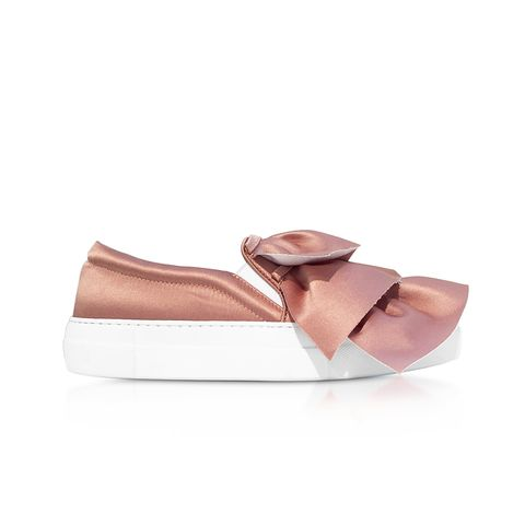Rose Satin Rouches Slip-On Sneakers