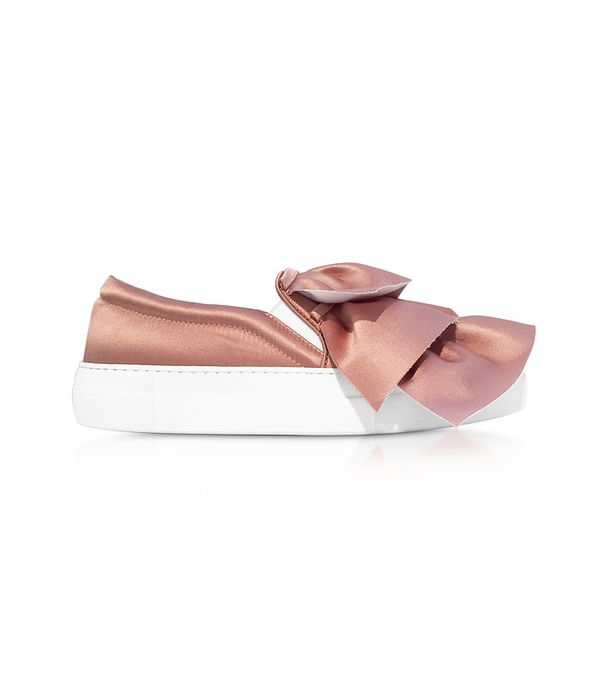 Rose Satin Rouches Slip on Sneakers