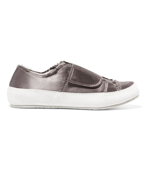 Palmira Suede-trimmed Frayed Satin Sneakers
