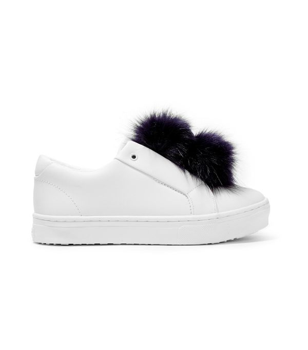 Sam Endelman Leya Faux Fur-Trimmed Leather Slip-On Sneakers