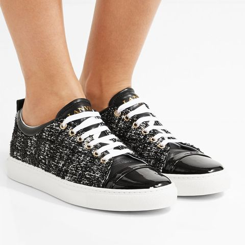 Patent Tweed Sneakers