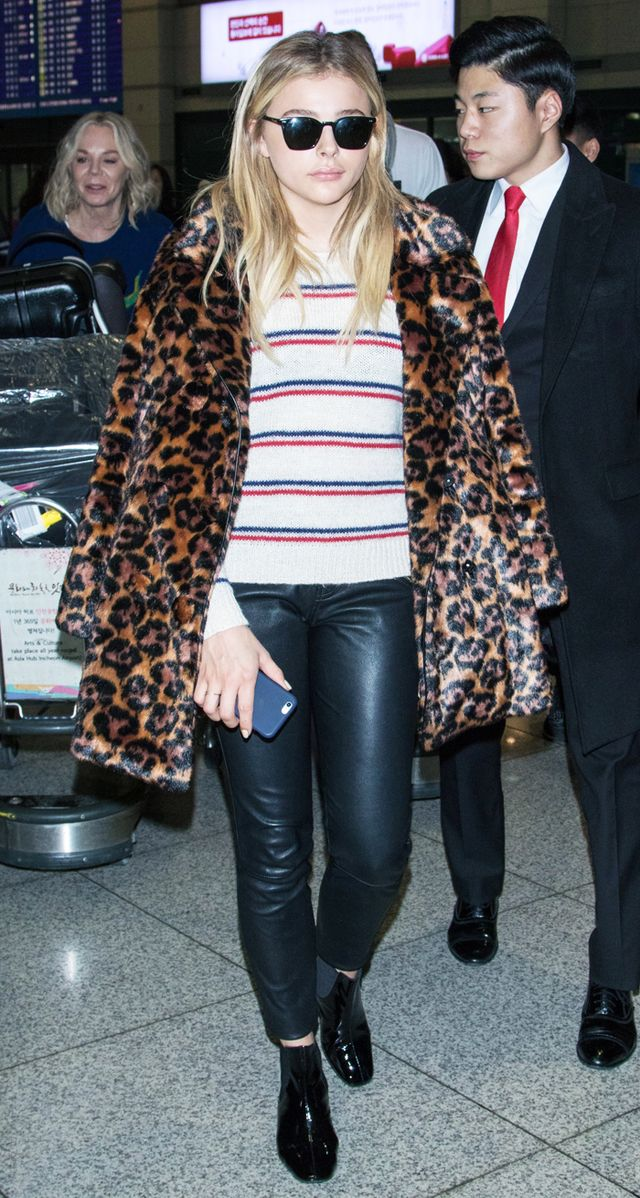 Chloe Grace Moretz Style: Coach leopard print jacket at airport