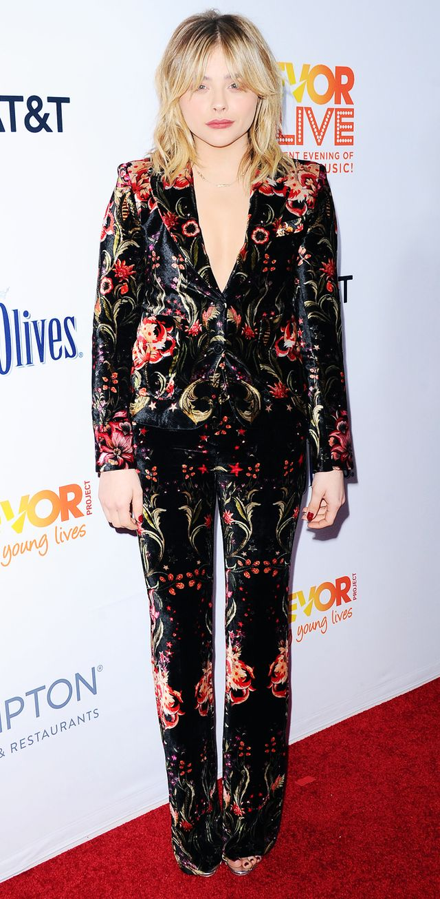 Chloe Grace Moretz Style: Roberto Cavalli floral print suit on red carpet