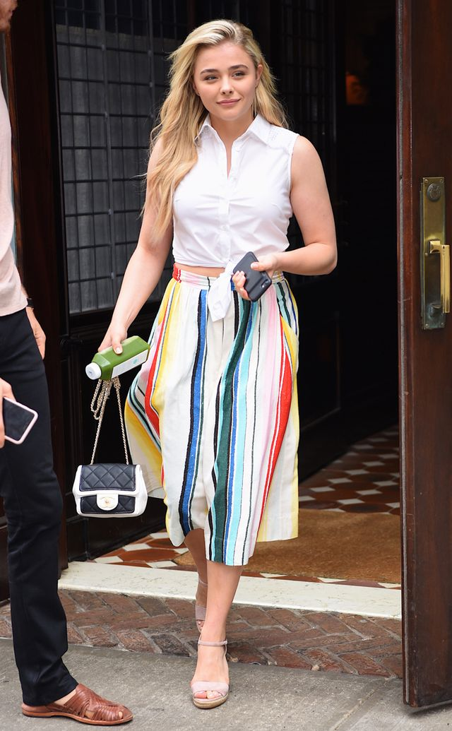 Chloe Grace Moretz Style: Striped Skirt and white shirt in New York