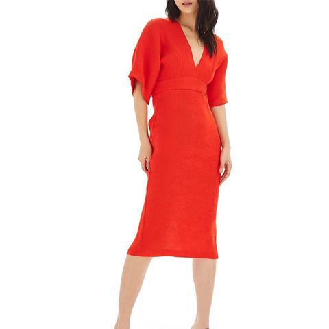 Textured Plunge Midi Dress