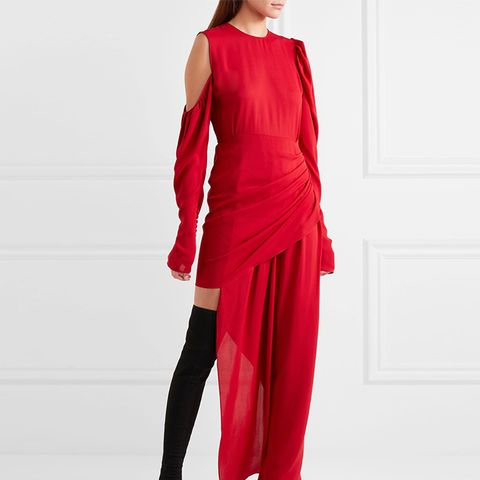 Sevilla Cold-Shoulder Asymmetric Silk-Crepe Midi Dress