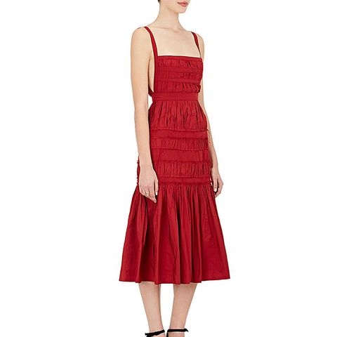 Pleated Taffeta Midi-Dress