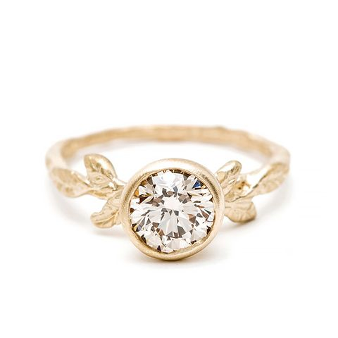 Champagne Diamond Twig Solitaire Ring