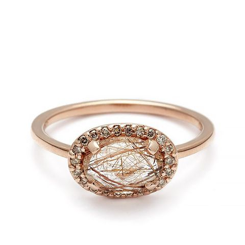 Pave Amulet Ring in Copper Quartz and Champagne Diamond