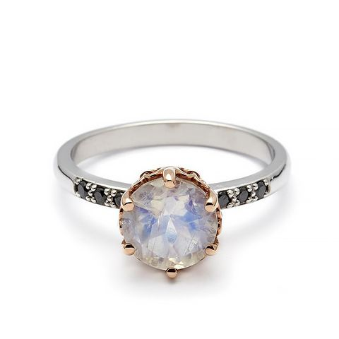 Hazeline Solitaire Ring in White Gold and Rainbow Moonstone
