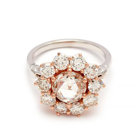 Celestine Ring in White Gold and Champagne Diamond