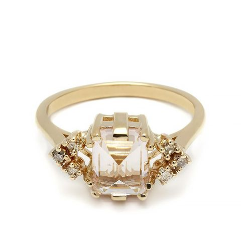 Bea Arrow Ring in Yellow Gold, Pink Morganite & Champagne Diamonds