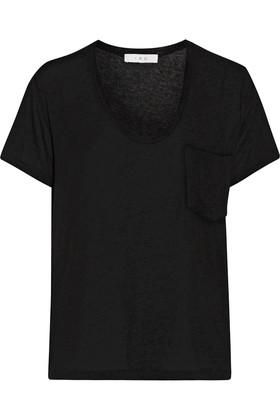 Emmy Stretch-Jersey T-Shirt in Black
