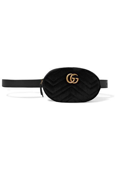 Gg Marmont Matelassé Velvet And Leather Belt Bag