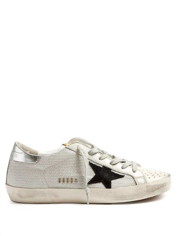Super Star low-top textured-canvas trainers