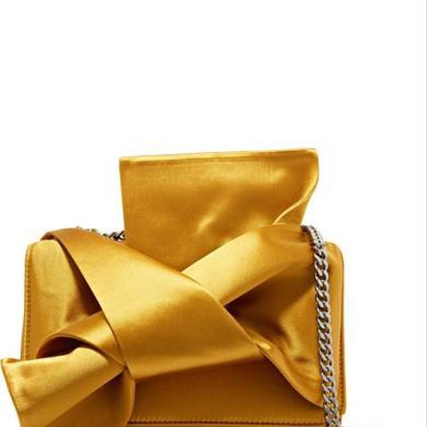 Knot Satin and Leather Shoulder Bag