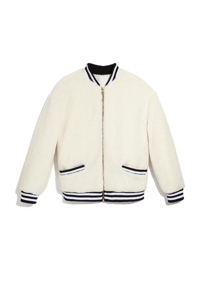 Scripted Faux Shearling Varsity Jacket