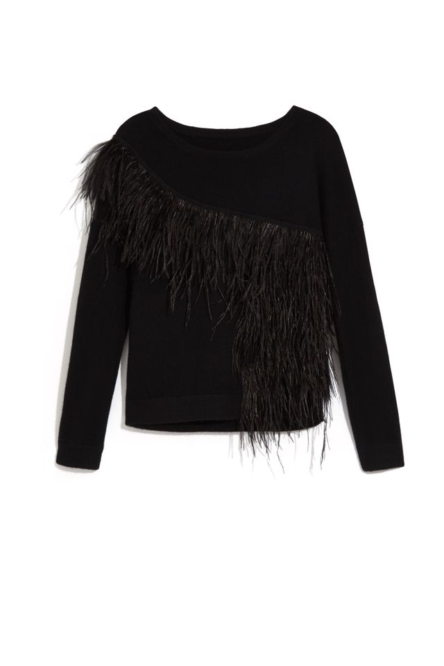 Scripted Sweater With Feather Trim