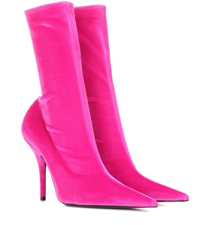 Knife velvet ankle boots