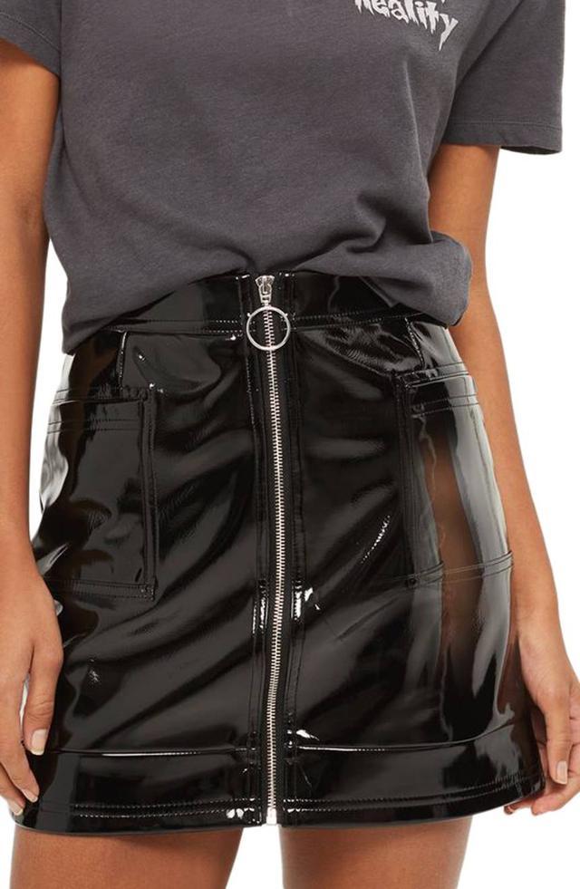 Zip Through Vinyl Miniskirt