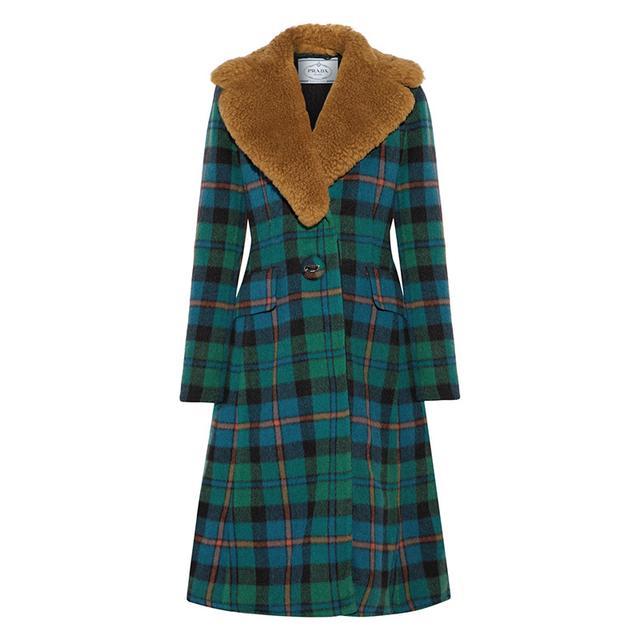 Shearling-trimmed Tartan Wool And Alpaca-blend Coat