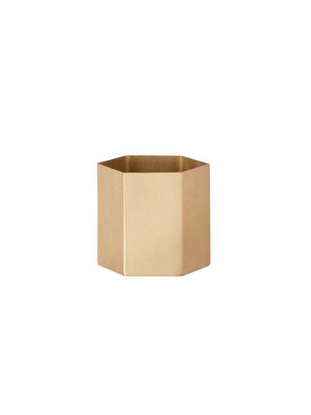 Ferm Living Brass Hexagonal Pot