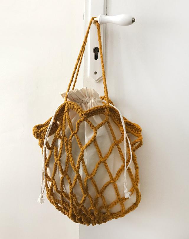 Frankie Shop Mustard Crochet Bag