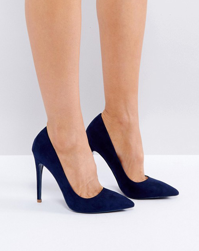 ASOS Public Desire Navy Pointed Court Shoes