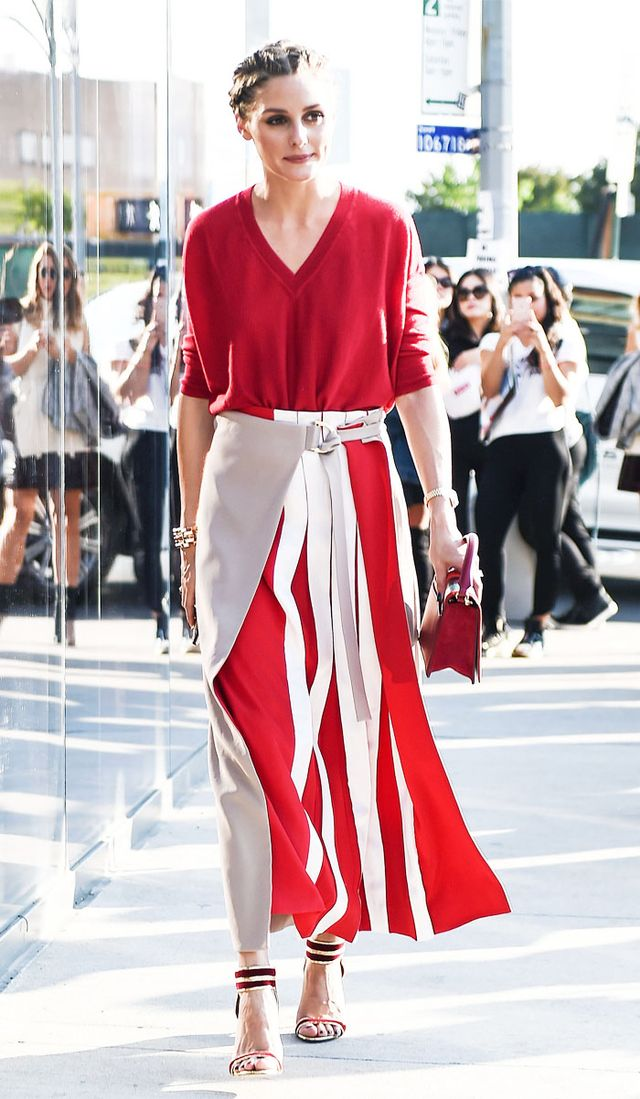 Celebrities New York Fashion Week spring 2018: Olivia Palermo red jumper and red and white skirt