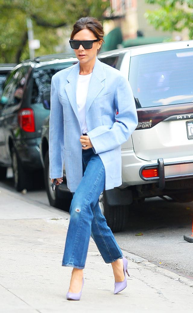 Celebrities New York Fashion Week spring 2018: Victoria Beckham jeans and blue blazer