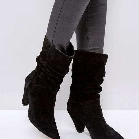 Cianna Suede Slouch Cone Heel Boots