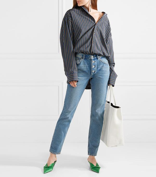 Masculin Oversized Striped Cotton-poplin Shirt