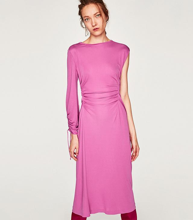 Zara Gathered Dress With Asymmetric Sleeves