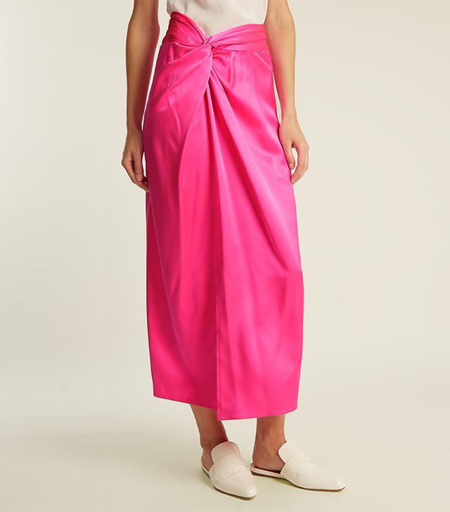 Brady twisted-waistband silk-satin skirt